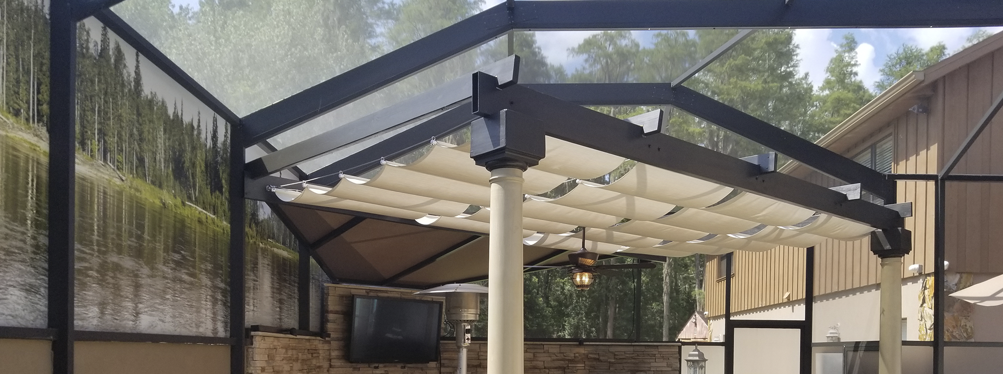 Superbe Retractable Patio Awnings, Sunshades, Canopies, Roman Shades, Slide Wire,