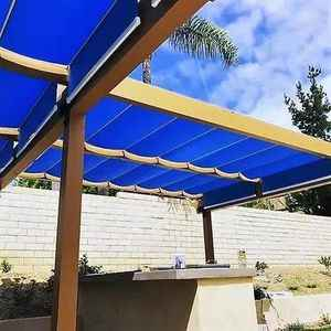 blue retractable fabric waterproof canopies