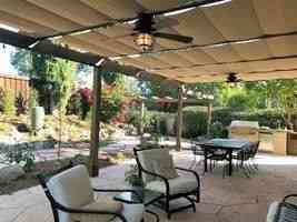 Home patio with fabric retractable canopies