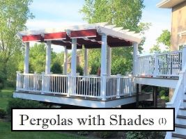 Pergola with retractable shades