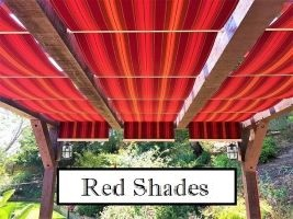 Red fabric canopies