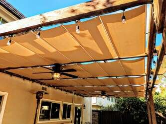 Beautiful patio with overhead canopies