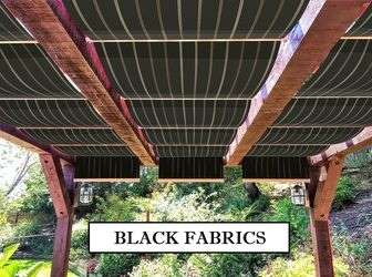 Black fabric retractable canopies