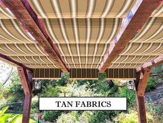 Tan fabric retractable awnings