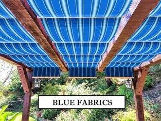 Blue fabric retractable wave shades