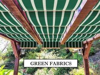 Green fabric retractable awnings