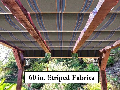 Striped fabric retractable awnings