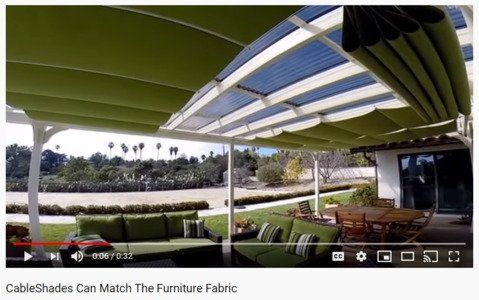 Green fabric retractable shades