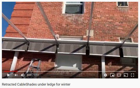 CableShades under a ledge