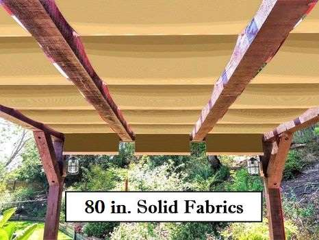 Wide solid fabric retractable awnings