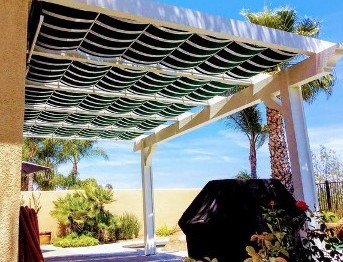 Backyard Patio Pergola with Retractable Awning with Waterproof Fabric